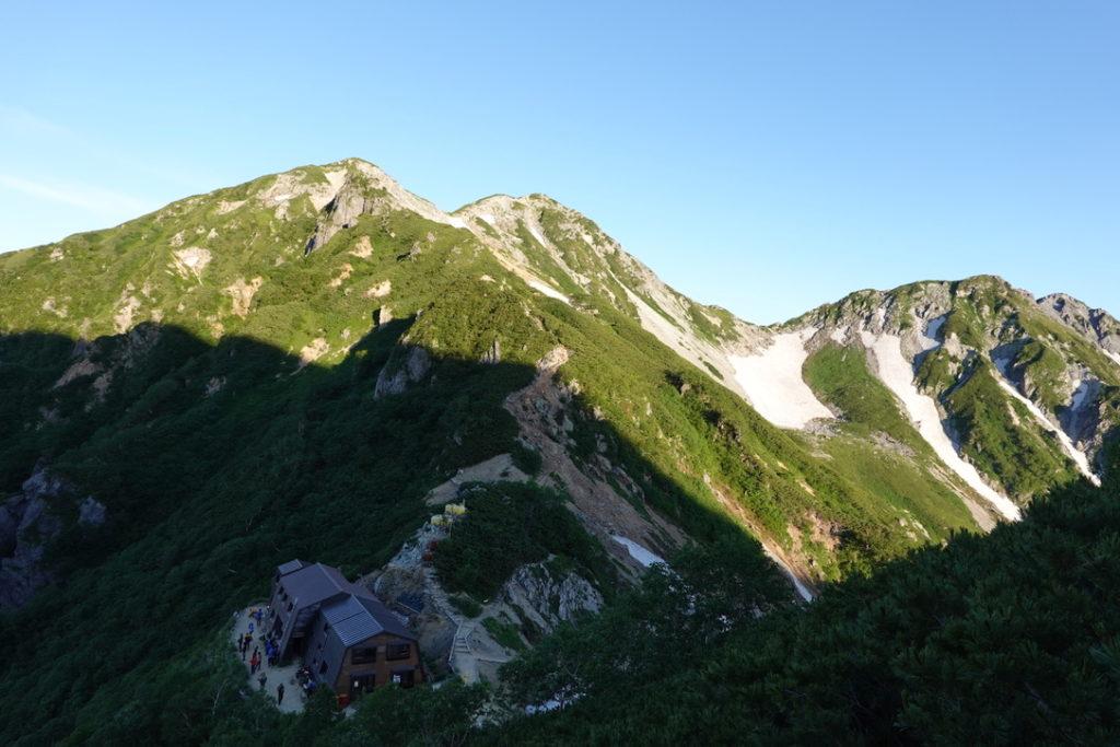 針ノ木岳・蓮華岳・蓮華岳からの針ノ木岳とスバリ岳、針ノ木小屋