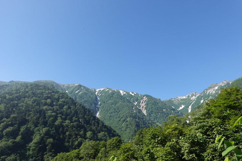針ノ木岳・蓮華岳・針ノ木岳(右)と蓮華岳(左)の稜線
