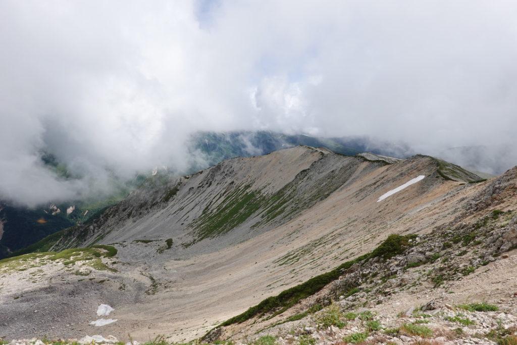雲ノ平・薬師岳山頂付近からの中央カール