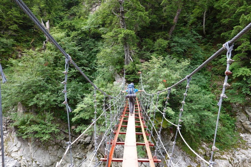 雲ノ平・薬師沢小屋の吊り橋