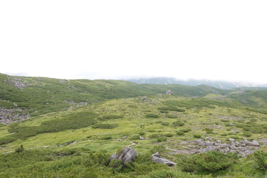 雲ノ平・祖母岳に登る途中からの雲ノ平山荘