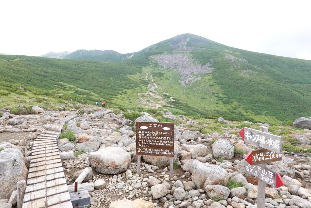 雲ノ平・水晶岳・三俣蓮華岳方面とキャンプ場、雲ノ平山荘の三叉路