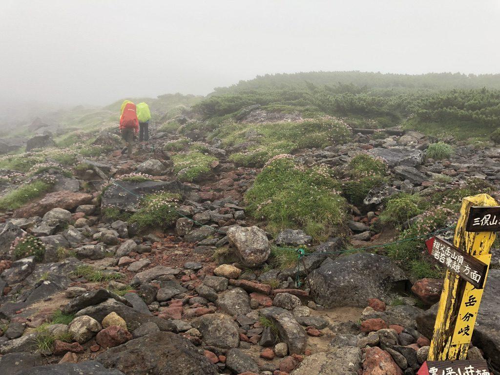 雲ノ平・祖父岳山頂経由岩苔乗越と祖父岳・鷲羽岳巻いて三俣山荘の道の分岐