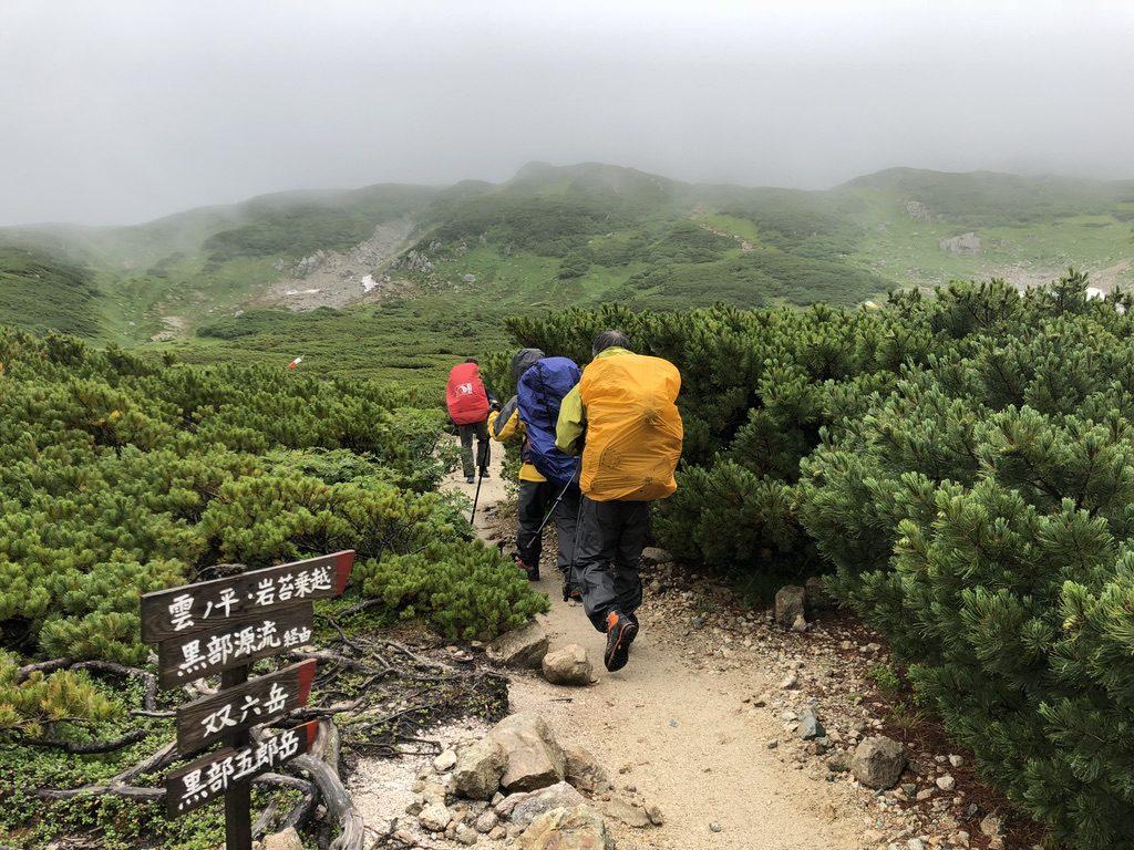 雲ノ平・三俣山荘のテント場越えて、三俣蓮華岳向かいます