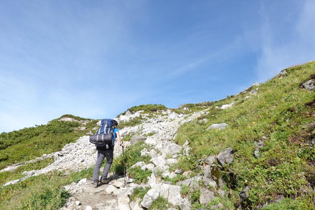 雲ノ平・黒部五郎岳のカールの上まであと少し