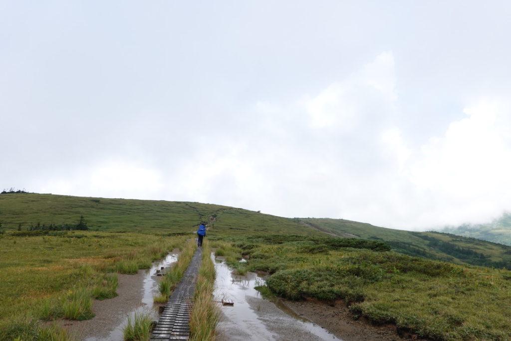 雲ノ平・北ノ俣岳から太郎山へ・レインウェアはあついです