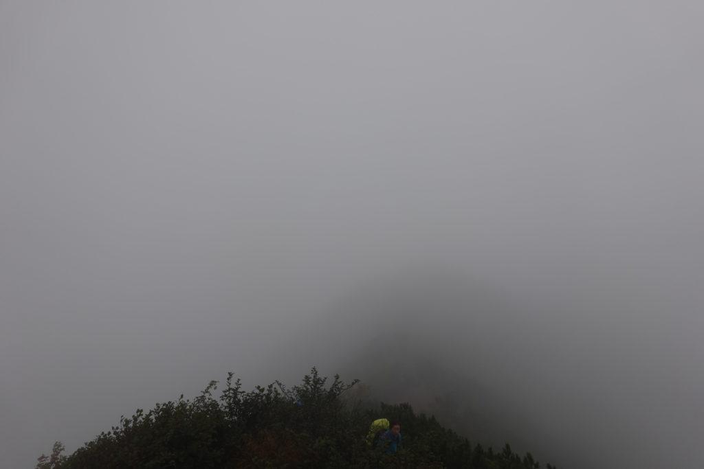 編笠山・権現岳・権現岳から赤岳方面を望む・なにも見えない