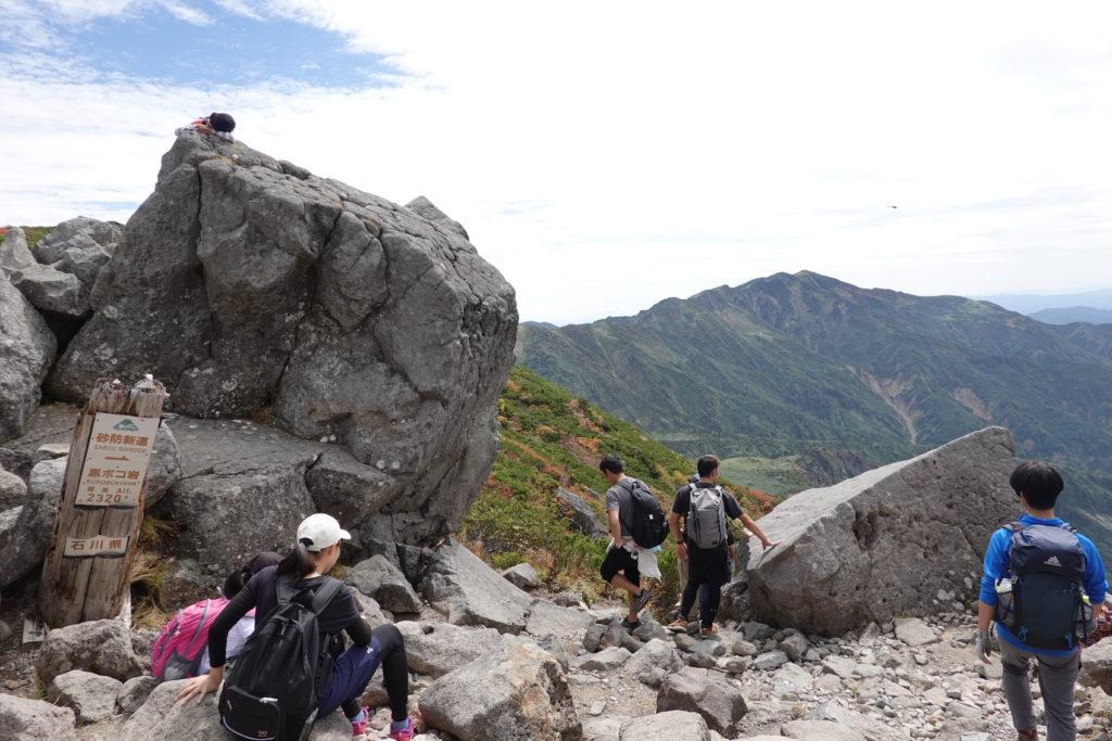 白山・黒ボコ岩・観光新道と砂防新道の分岐