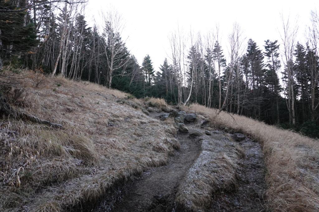 浅間山(前掛山)・黒斑コース・中コースには霜が降りる