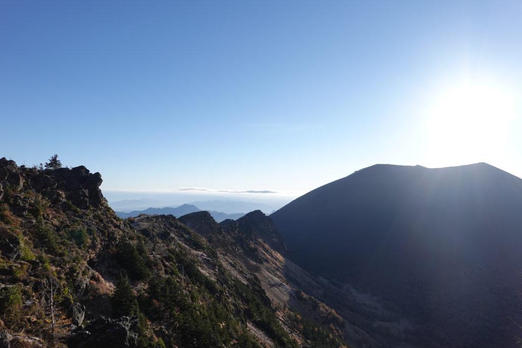 浅間山(前掛山)・浅間山外輪山・浅間山を目にしながらの黒斑山から蛇骨岳への移動