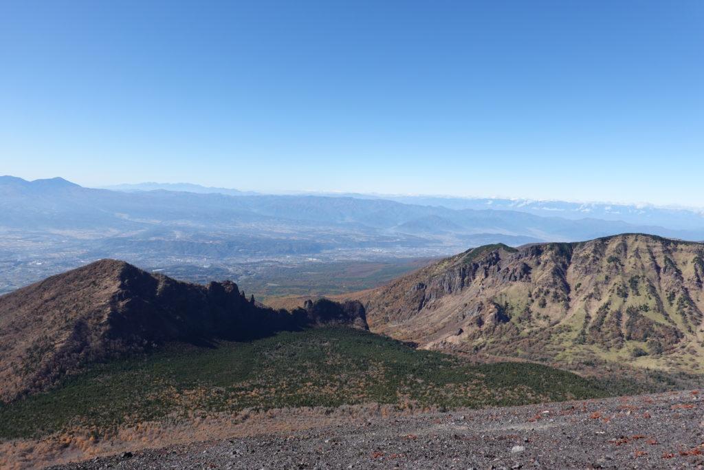 浅間山(前掛山)・前掛山山頂から見た剣ヶ峰、牙山、外輪山