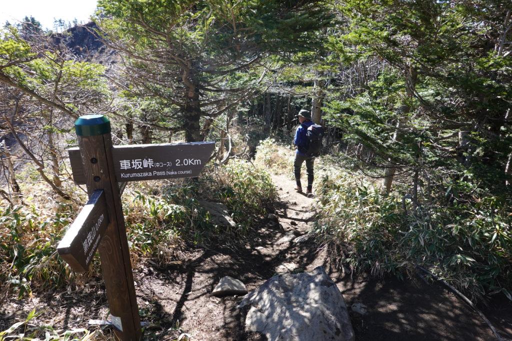 浅間山(前掛山)・黒斑コース・表コース、中コースの分岐