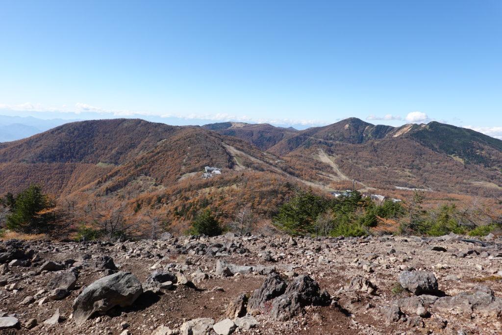 浅間山(前掛山)・黒斑コース・表コースからの車坂峠、高峰高原