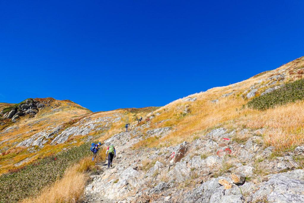 越後駒ヶ岳(魚沼駒ヶ岳)・駒ノ小屋直下の岩場の急登