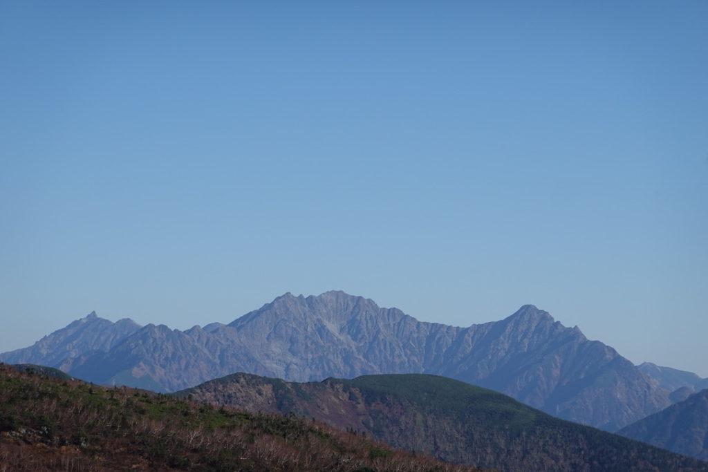 乗鞍岳・肩の小屋口へ向かう途中での槍ヶ岳・穂高連峰