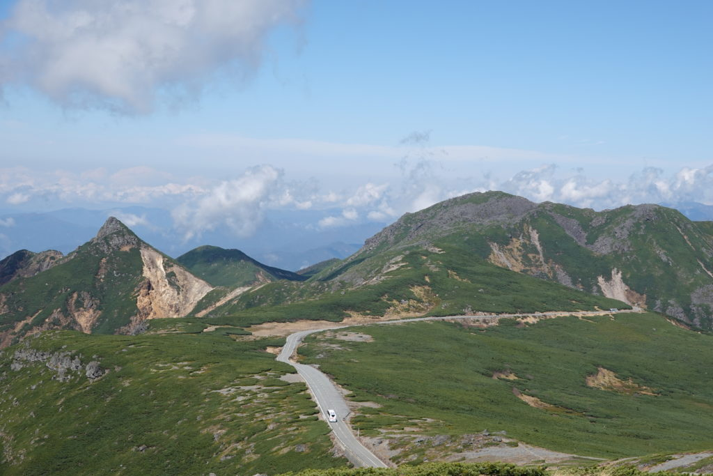 乗鞍岳・大黒岳山頂からの烏帽子岳と四ツ岳