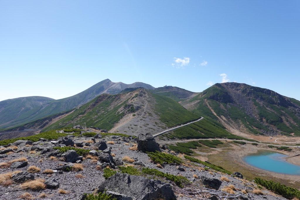 乗鞍岳・大黒岳からの富士見岳、不消ヶ池、不動岳、摩利支天岳、剣ヶ峰