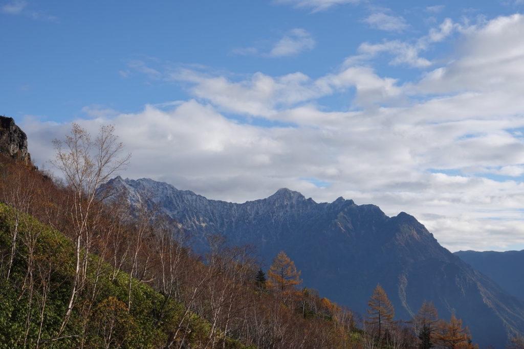 焼岳・紅葉の新中の湯ルート・焼岳からの穂高連峰・アップ