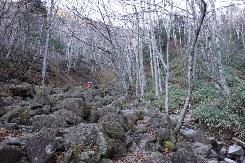 皇海山・皇海山不動沢コース・岩がゴロゴロ