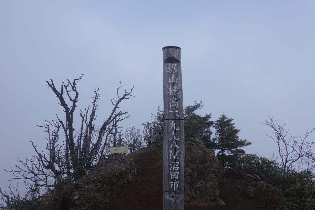 皇海山・鋸山頂上