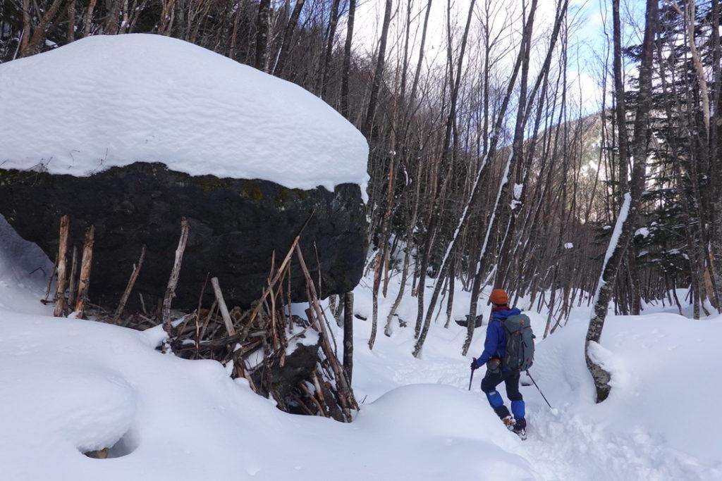 積雪期・日光白根山・深い樹林帯、撤退中・みんなやるよね