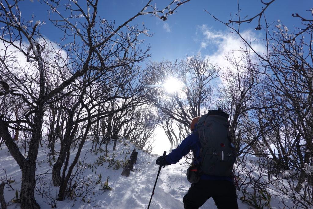 厳冬期・赤城山(黒檜山・駒ヶ岳)・駒ヶ岳山頂への最後の登り