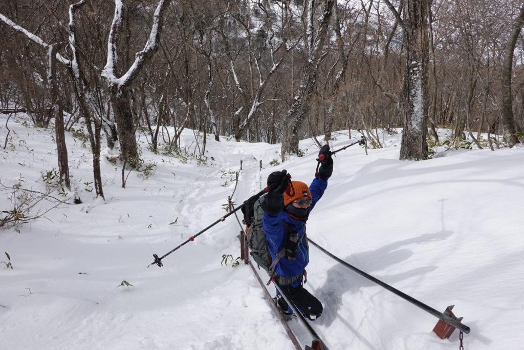 厳冬期・赤城山(黒檜山・駒ヶ岳)・鉄の階段・ストック回収