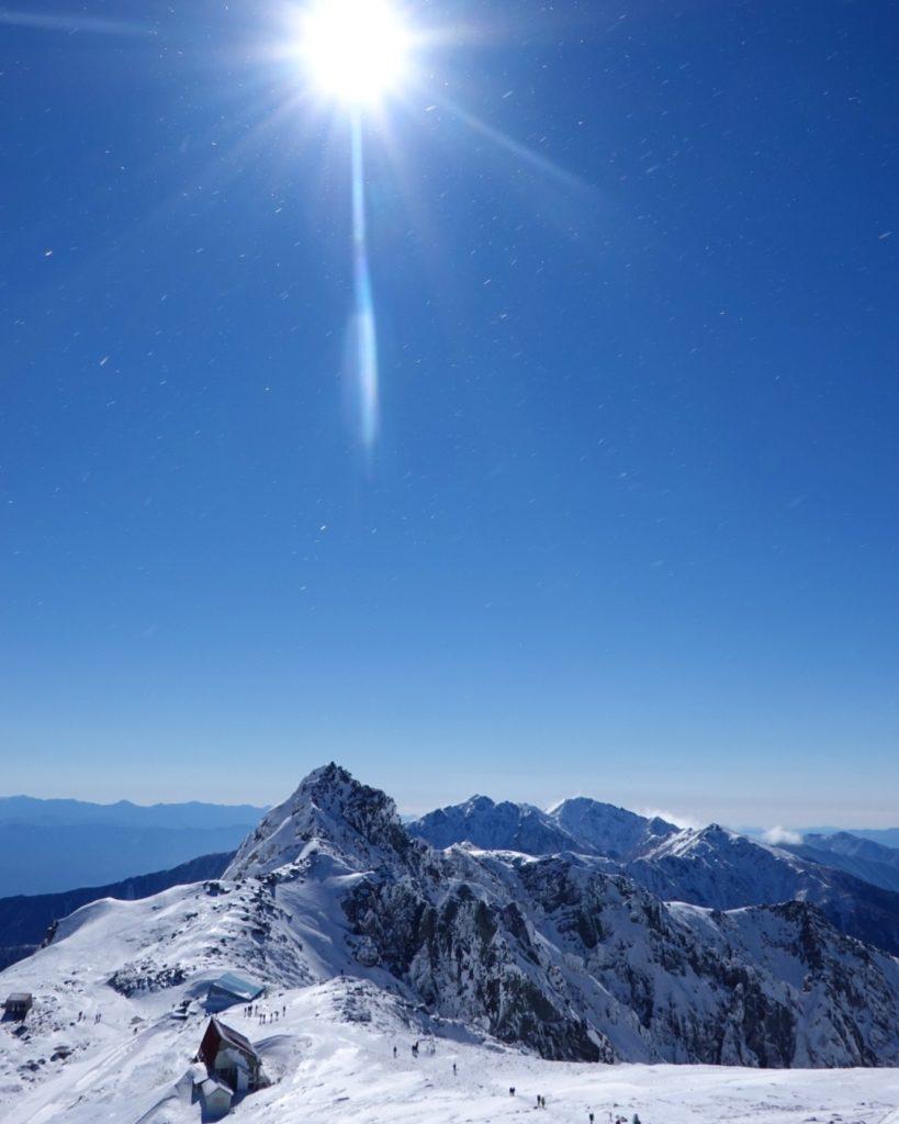 厳冬期・木曽駒ヶ岳・中岳山頂からの宝剣岳