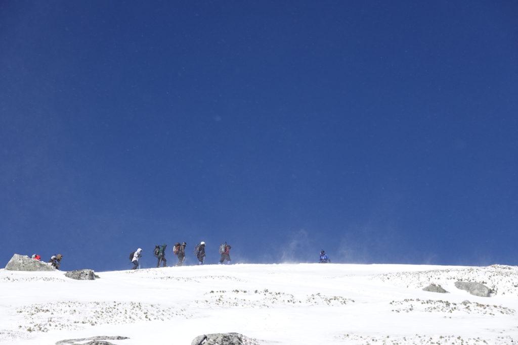 厳冬期・木曽駒ヶ岳・木曽駒ヶ岳アタック、先行者たち