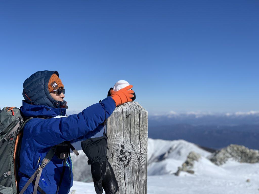 厳冬期・木曽駒ヶ岳・木曽駒ヶ岳山頂に置き土産