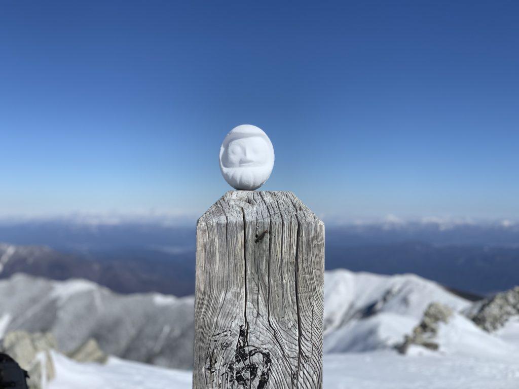 厳冬期・木曽駒ヶ岳・木曽駒ヶ岳山頂の雪ダルマ