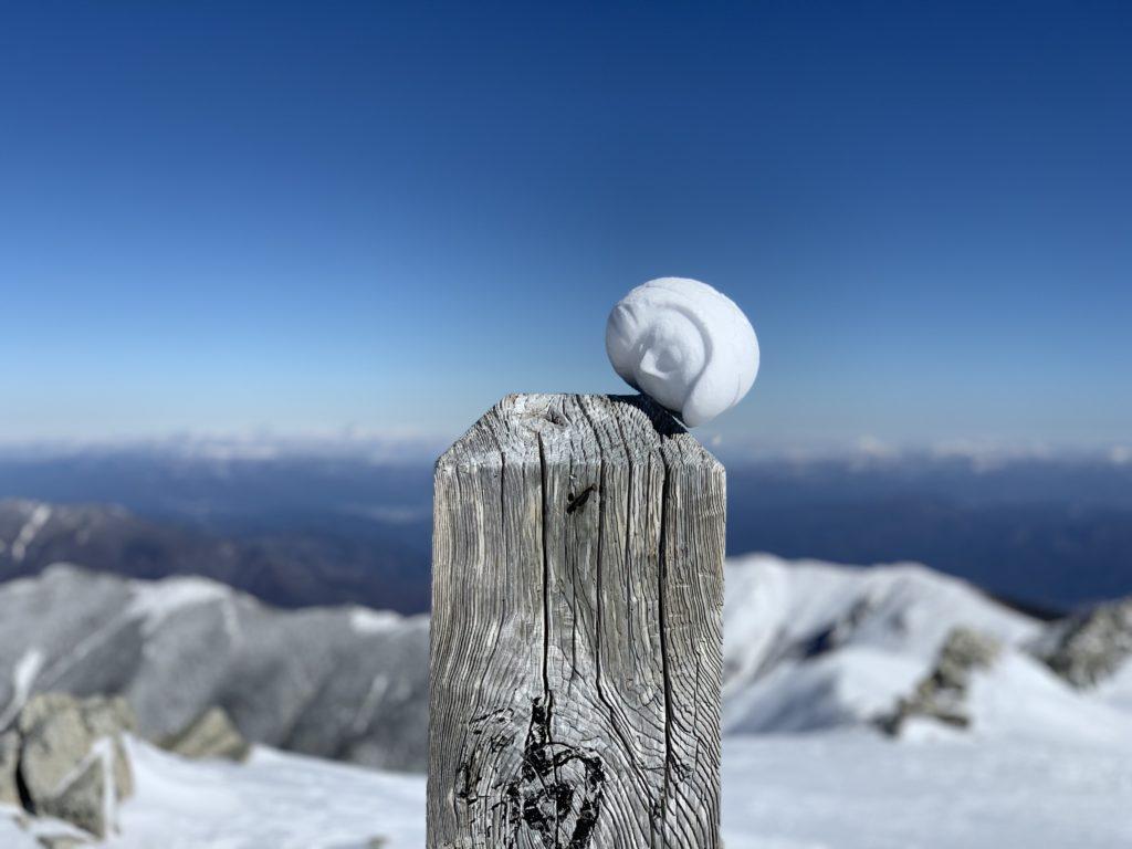 厳冬期・木曽駒ヶ岳・木曽駒ヶ岳山頂の雪ダルマ・アァァア!