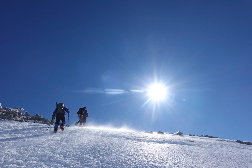 厳冬期・木曽駒ヶ岳・中岳、最後の登り2