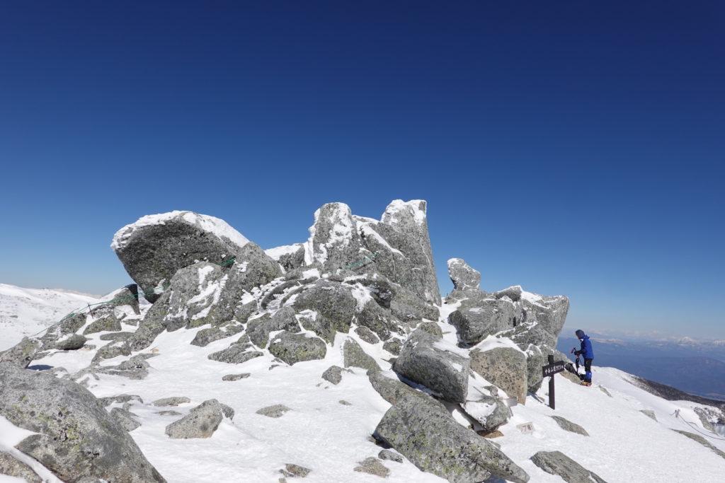 厳冬期・木曽駒ヶ岳・中岳山頂、再び