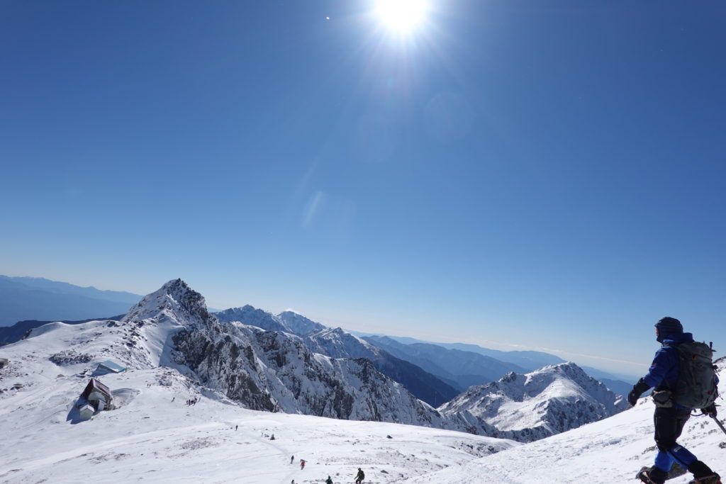 厳冬期・木曽駒ヶ岳・中岳から乗越浄土へ