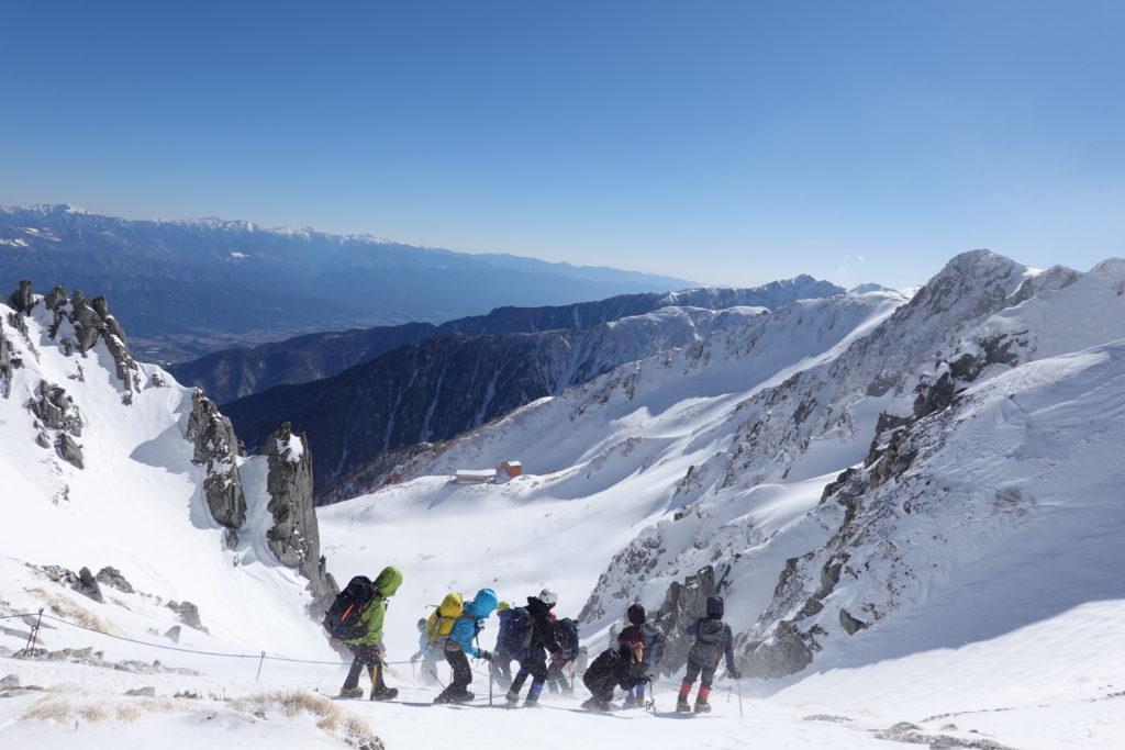 厳冬期・木曽駒ヶ岳・乗越浄土から千畳敷へ