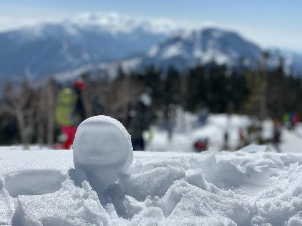厳冬期・西穂高岳・西穂独標・西穂山荘に雪だるま