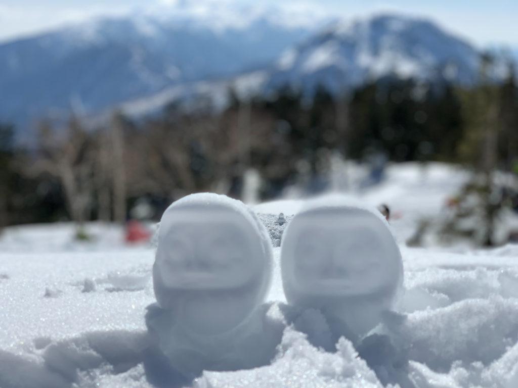 厳冬期・西穂高岳・西穂独標・西穂山荘に雪だるま×2