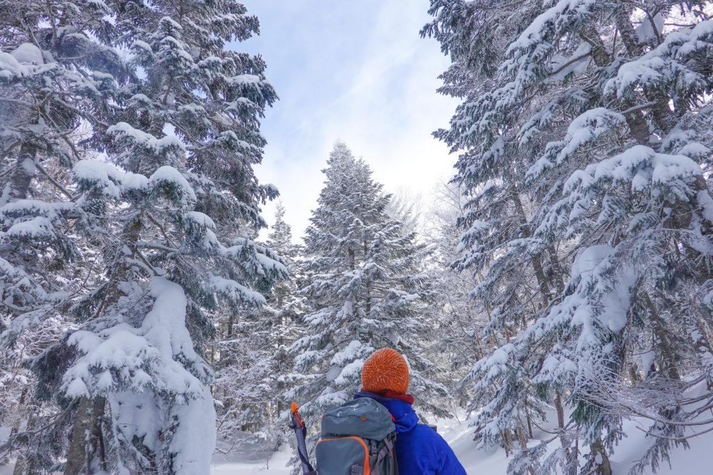 厳冬期・西穂丸山・西穂山荘へ・今日はじめての青空