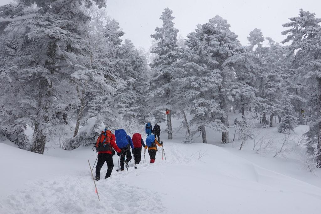 厳冬期・西穂丸山・西穂山荘へ・先行者たち