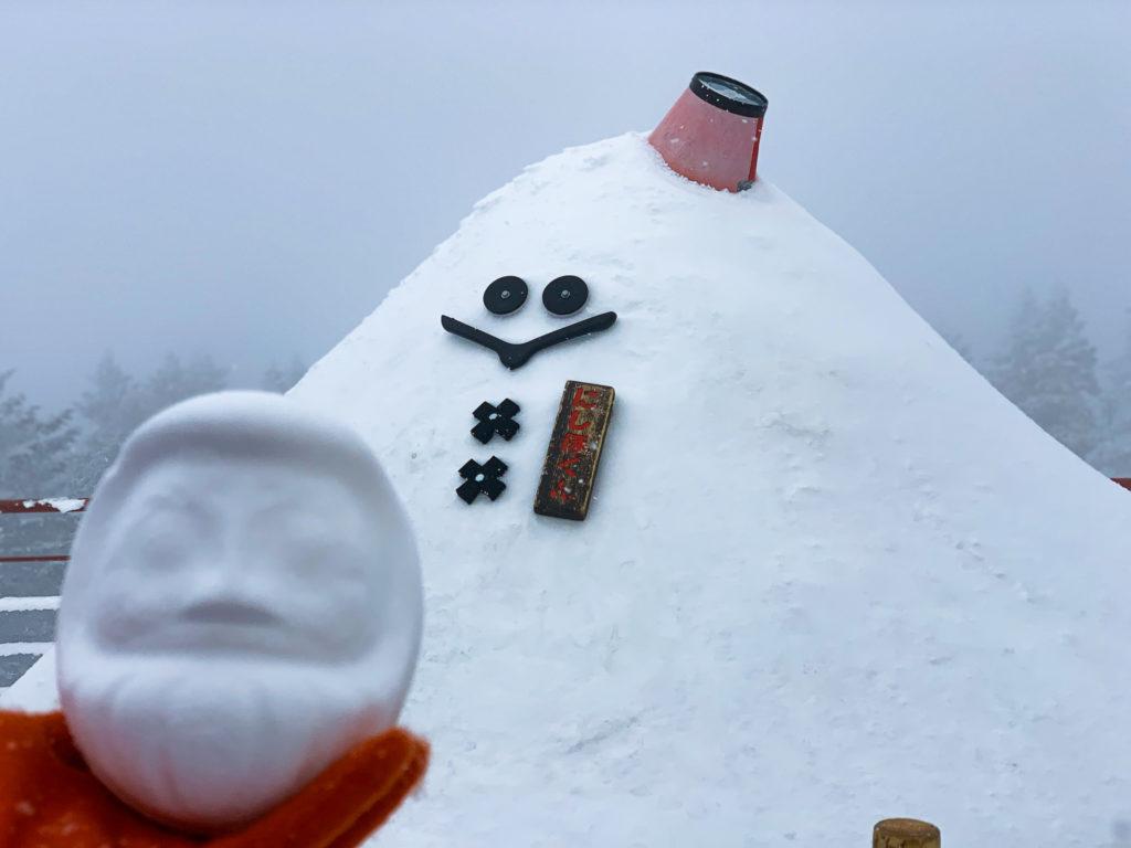 厳冬期・西穂丸山・新穂高ロープウェイ・にしほくんと雪だるま