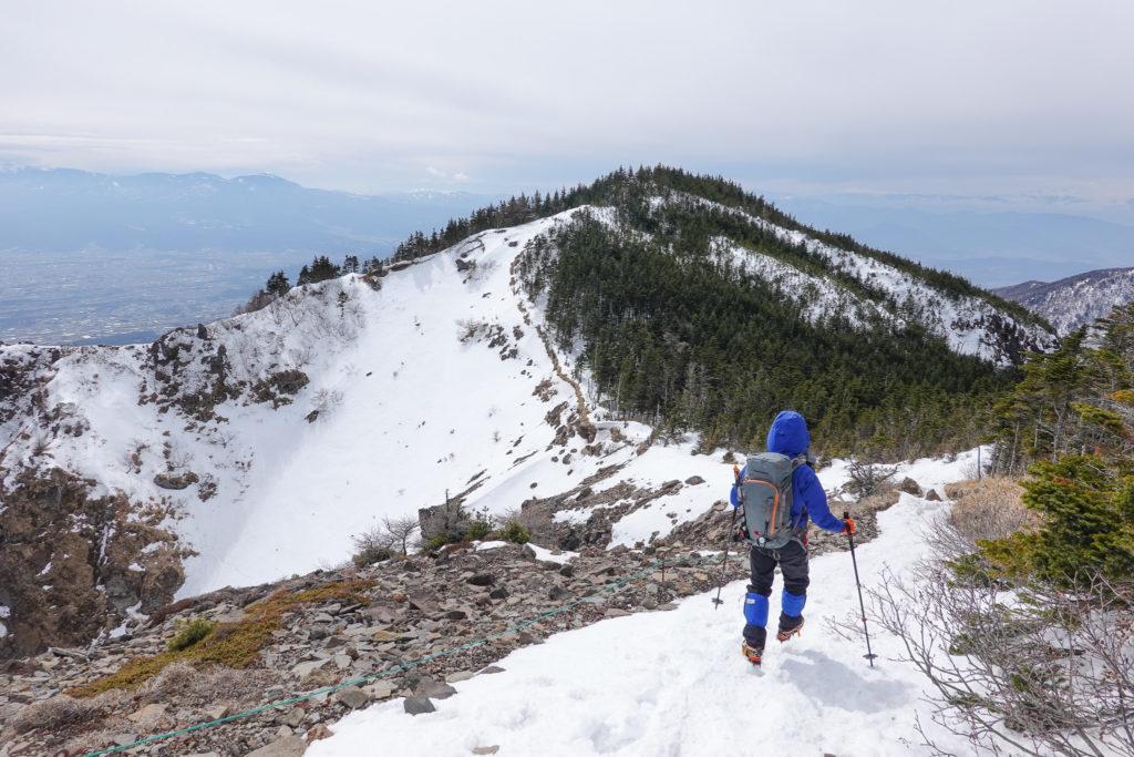 残雪期・浅間山・トーミの頭から車坂峠へ