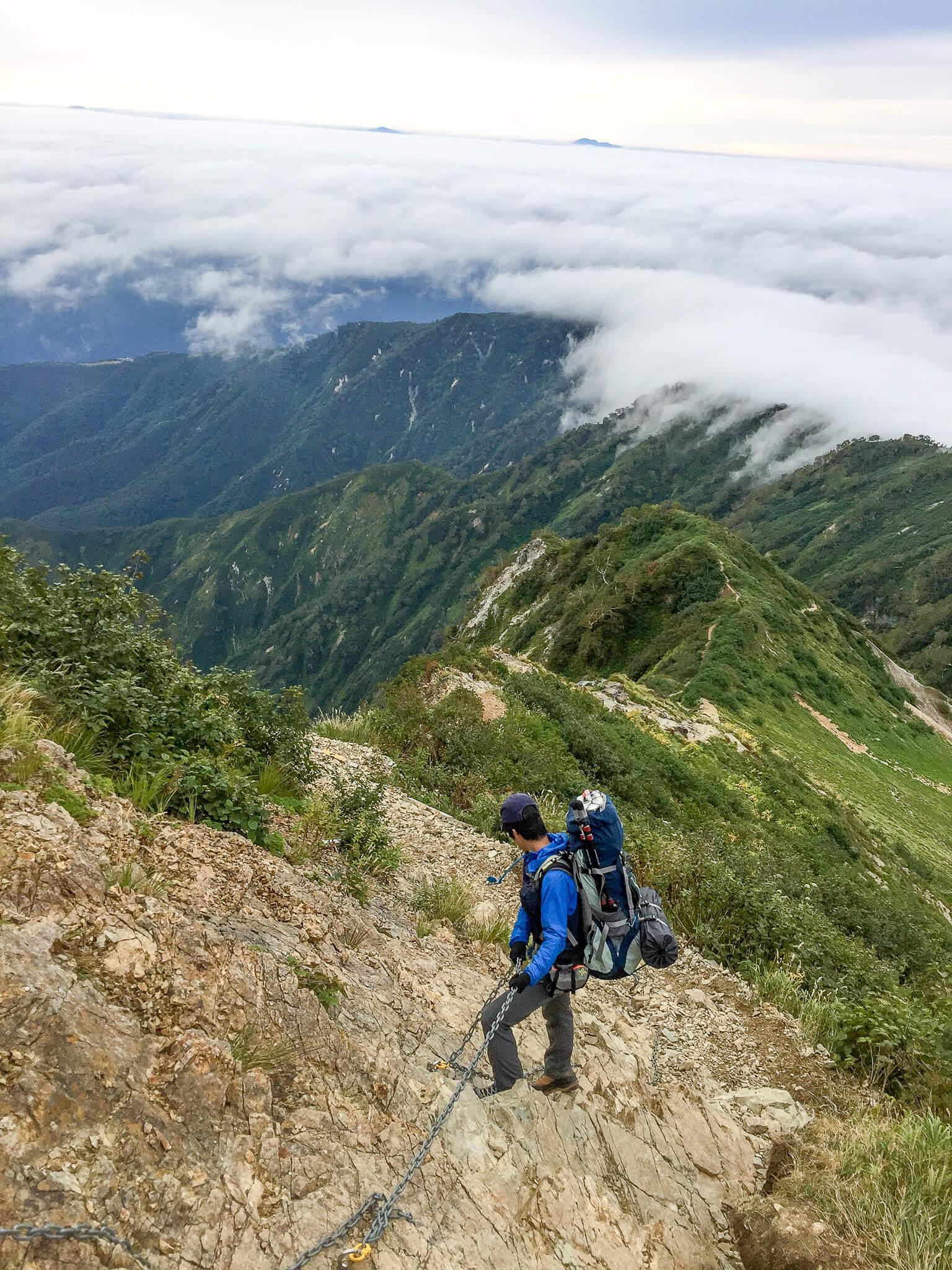 五竜岳・遠見尾根から帰ります