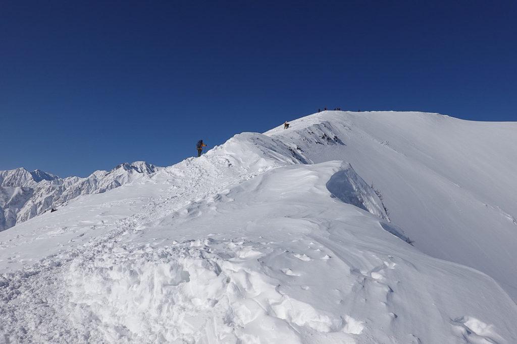 積雪期・唐松岳・八方山登頂中