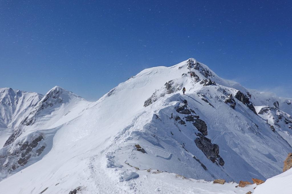 積雪期・唐松岳・岩が露出しているのでご注意を!