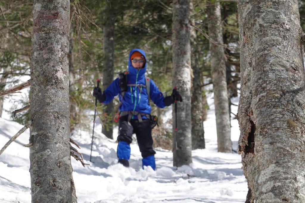 残雪期・日光白根山・道がわかりづらい樹林帯