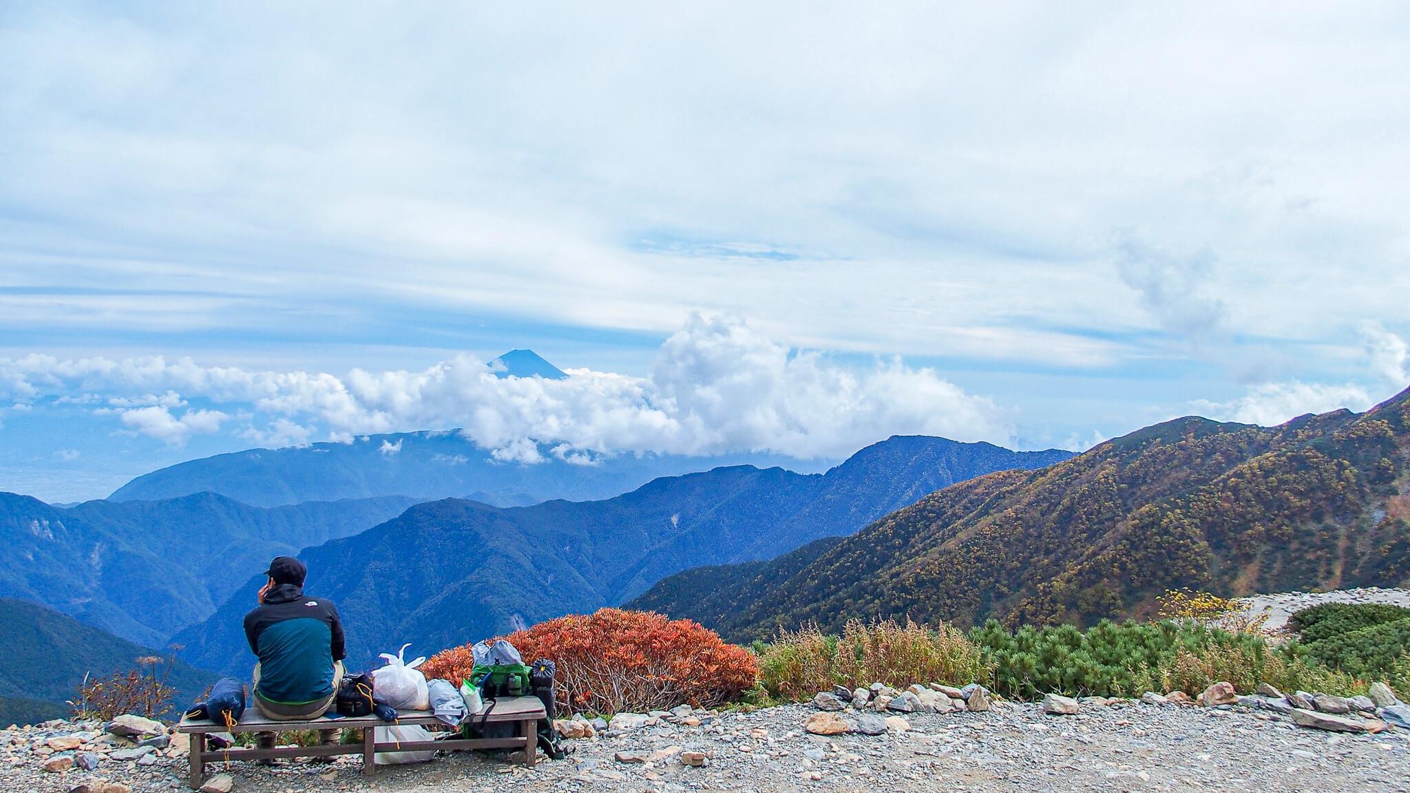 北岳・北岳山荘からの富士山
