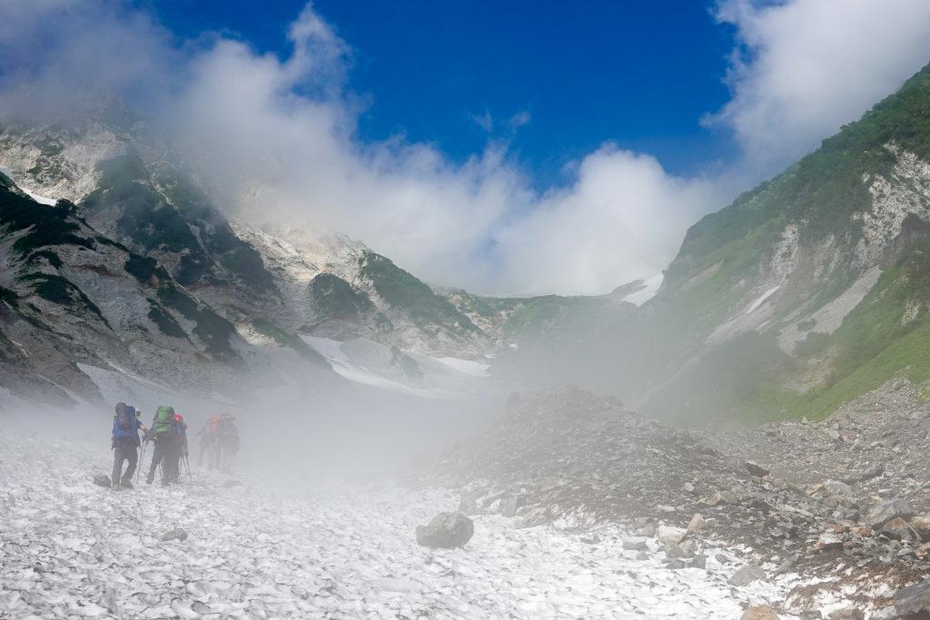 白馬岳・ガスってきました大雪渓