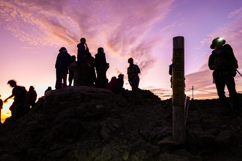 白馬岳・白馬岳山頂(日の出前)