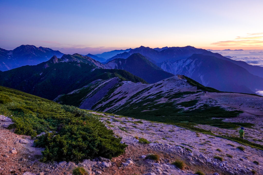 裏銀座・烏帽子小屋から三ッ岳へと至る稜線